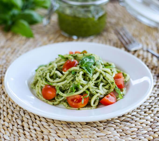 Tomato Pesto with Courgette Spaghetti – great served with meat or fish